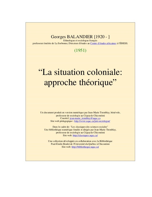 Balandier situation coloniale-1951