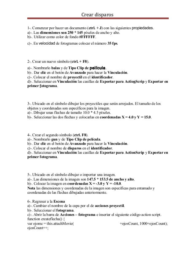 Crear disparos 1-. Comenzar por hacer un documento (ctrl. + J) con las siguientes propiedades. a)-. Las dimensiones son 25...