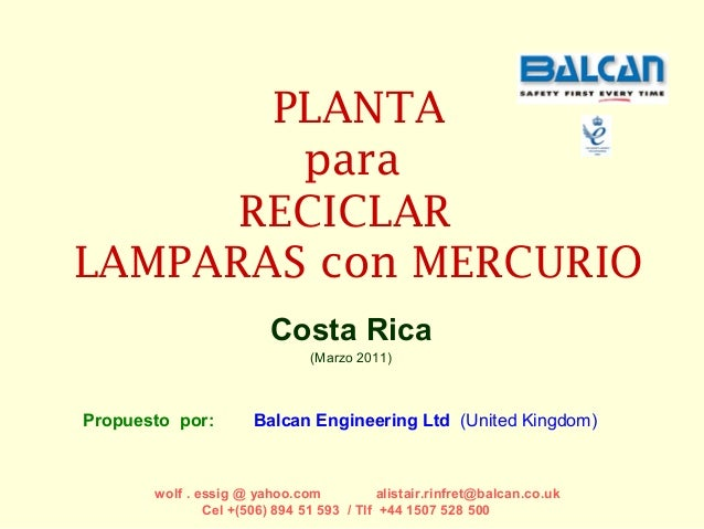 PLANTA        para      RECICLARLAMPARAS con MERCURIO                         Costa Rica                               (Ma...