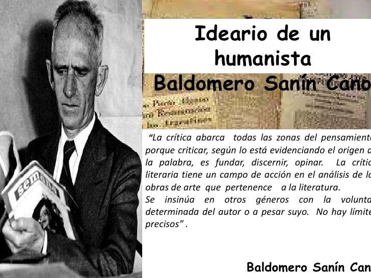 Baldomero Sanin Cano. ideario de un humanista