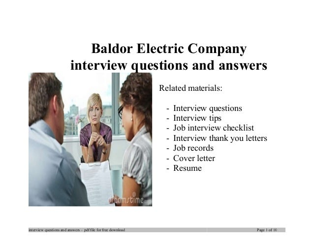 Baldor electric company interview questions and answers