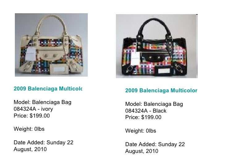 2009 Balenciaga Multicolor Bag 084324A - ivory white Model: Balenciaga Bag 084324A - ivory Price: $199.00 Weight: 0lbs Dat...