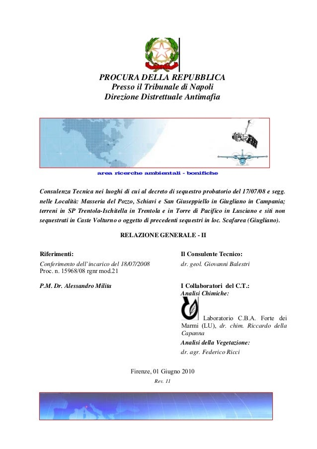 PROCURA DELLA REPUBBLICA Presso il Tribunale di Napoli Direzione Distrettuale Antimafia  studio di geologia dr. Balestri g...