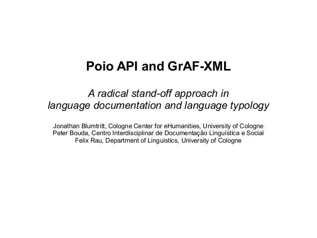 Poio API and GraF-XML @ Balisage 2013
