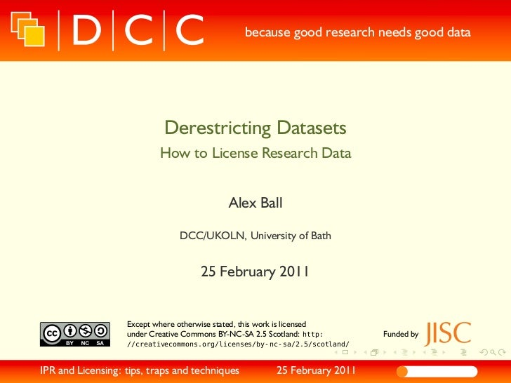 because good research needs good data                             Derestricting Datasets                            How to...
