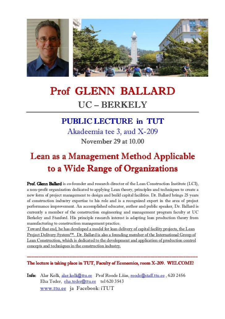 Prof GLENN BALLARD                             UC – BERKELY                   PUBLIC LECTURE in TUT                    Aka...