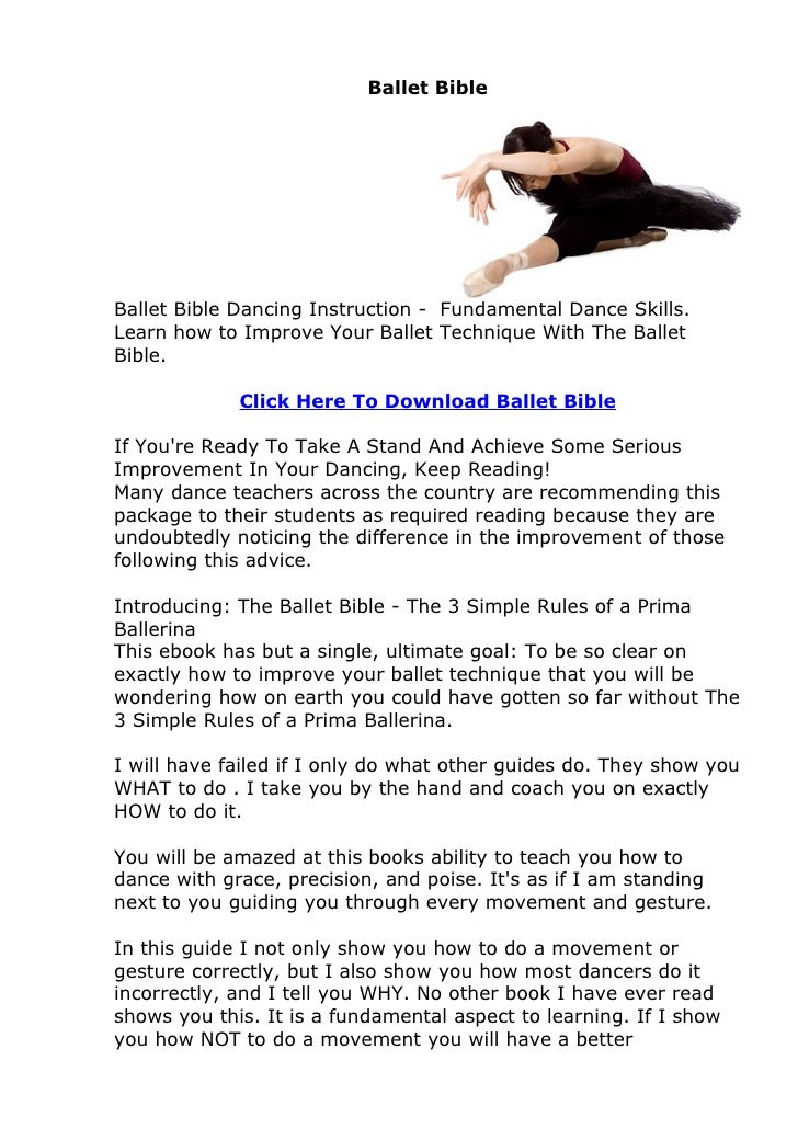 Ballet BibleBallet Bible Dancing Instruction - Fundamental Dance Skills.Learn how to Improve Your Ballet Technique With Th...