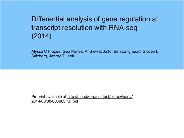 """Journal club slides to discuss """"Differential analysis of gene regulation at transcript resolution with RNA-seq"""" (2014)."""