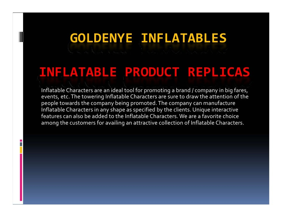 GOLDENYE INFLATABLESINFLATABLE PRODUCT REPLICASInflatable Characters are an ideal tool for promoting a brand / company in ...