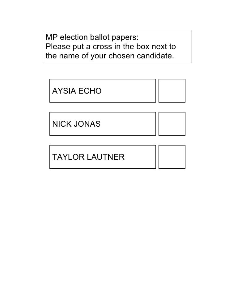 MP election ballot papers: Please put a cross in the box next to the name of your chosen candidate.     AYSIA ECHO     NIC...