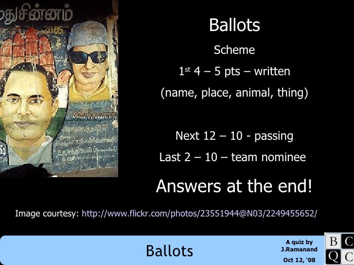 Ballots Scheme 1 st  4 – 5 pts – written (name, place, animal, thing) Next 12 – 10 - passing Last 2 – 10 – team nominee  A...