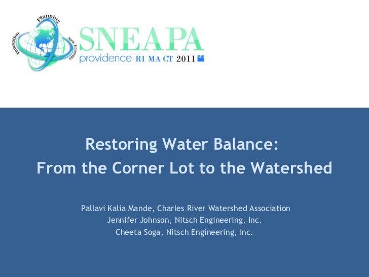 Restoring Water Balance