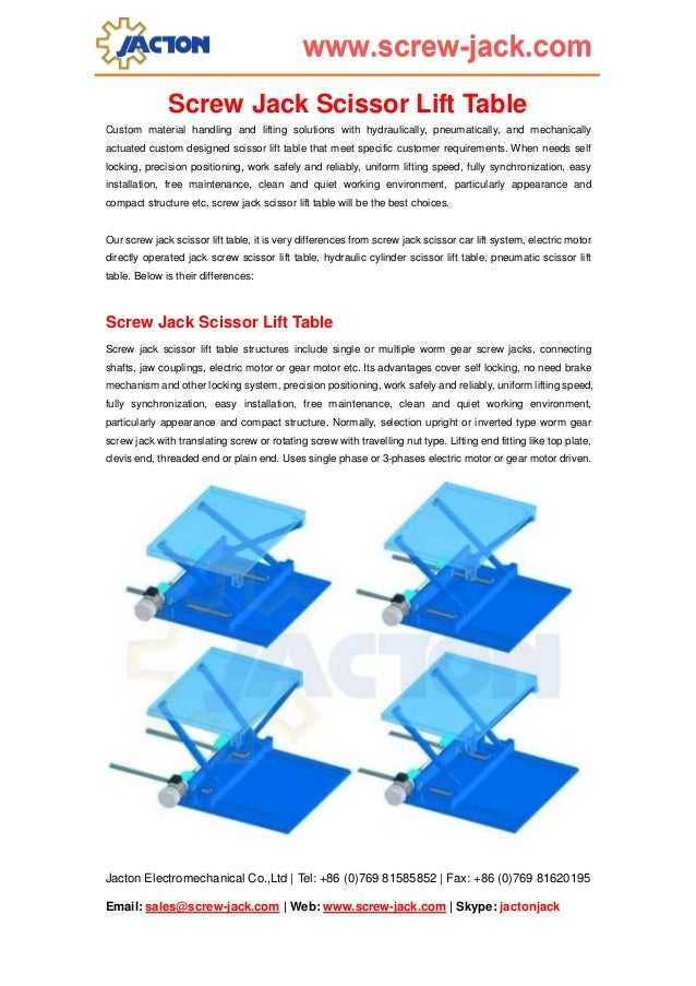 Screw Jack Scissor Lift Table Custom material handling and lifting solutions with hydraulically, pneumatically, and mechan...