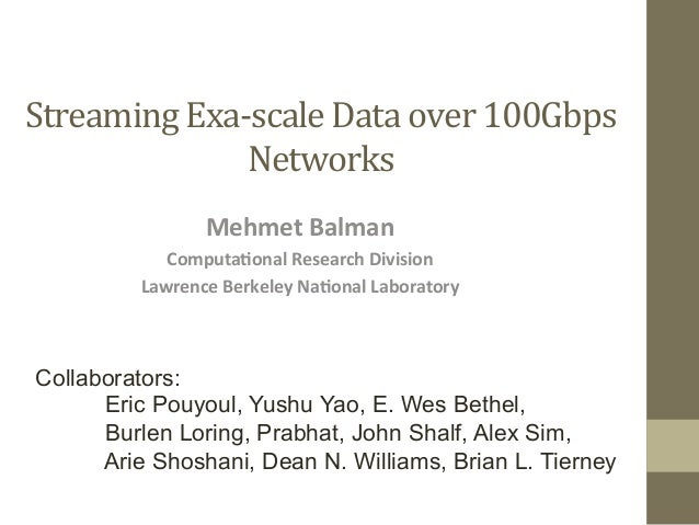 Streaming Exa-‐scale Data over 100Gbps                   Networks                    Mehmet Balman       ...