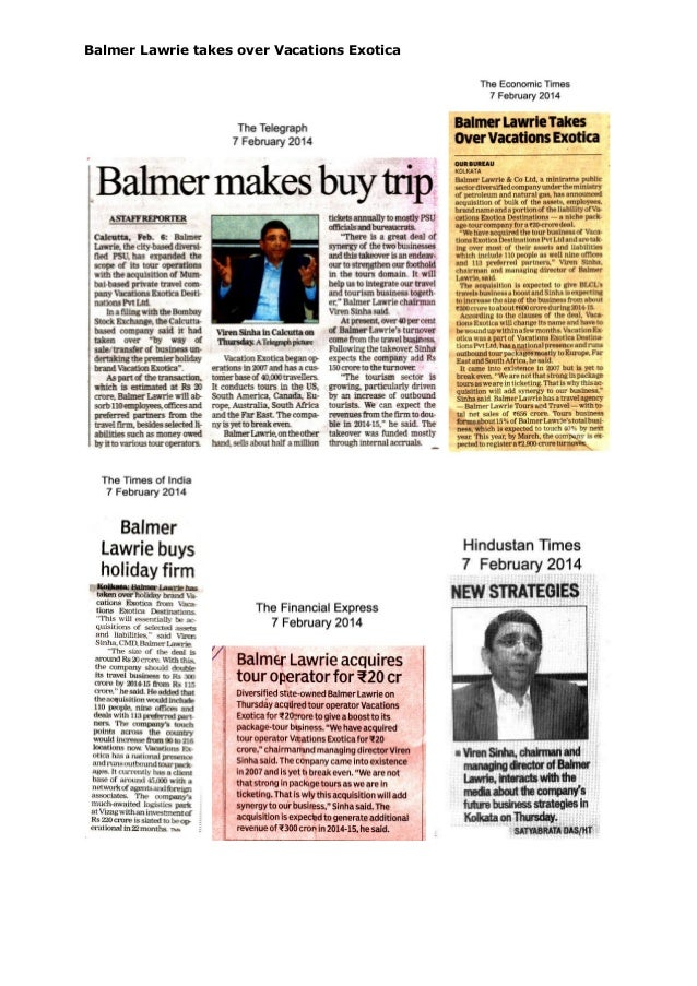 Balmer Lawrie takes over Vacations Exotica