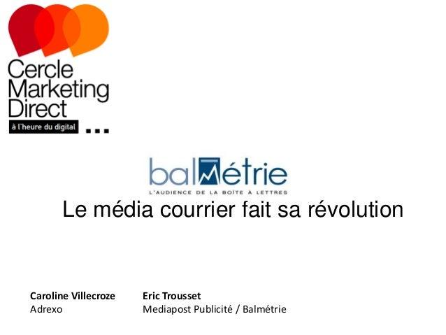 Le média courrier fait sa révolution  Caroline Villecroze Adrexo  Eric Trousset Mediapost Publicité / Balmétrie