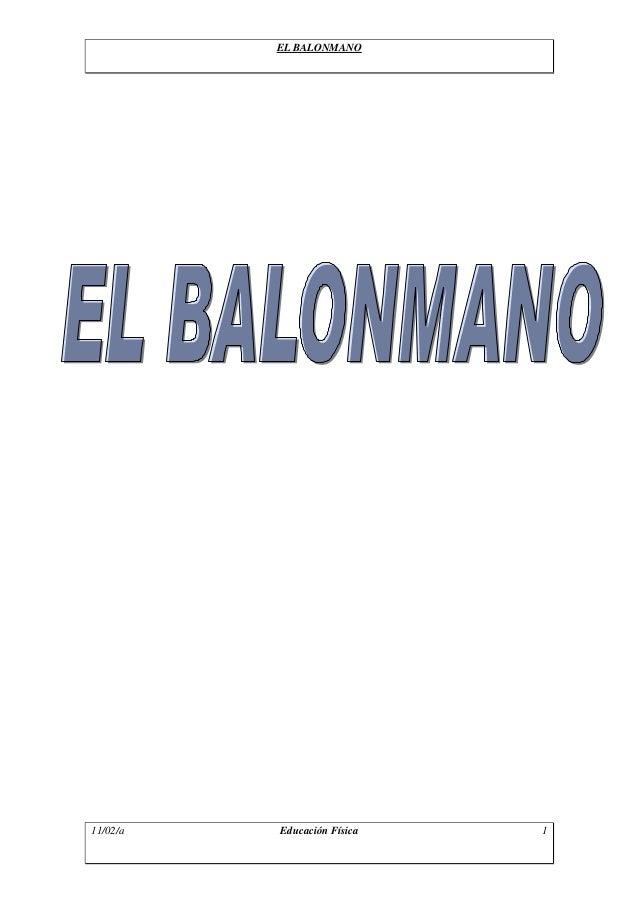 EL BALONMANO 11/02/a Educación Física 1