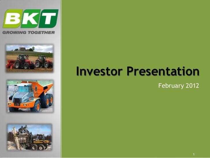 Investor Presentation             February 2012                       1