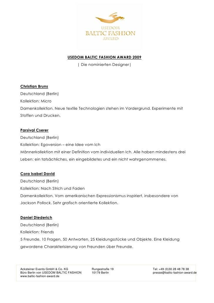 USEDOM BALTIC FASHION AWARD 2009                                  | Die nominierten Designer|Christian BrunsDeutschland (B...