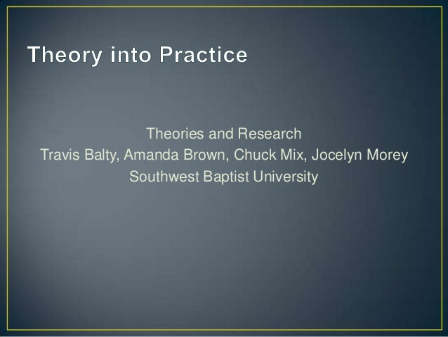 Theories and ResearchTravis Balty, Amanda Brown, Chuck Mix, Jocelyn Morey               Southwest Baptist University