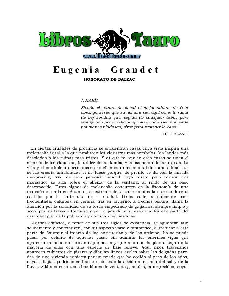 Balzac. Eugenia Grandet