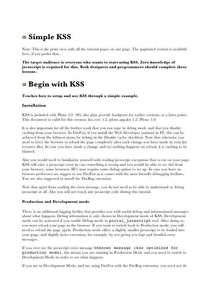 Simple KSS Note: This is the print view with all the tutorial pages on one page. The paginated version is available here, ...