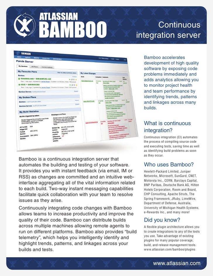Bamboo Continuous Integration Server - Brief