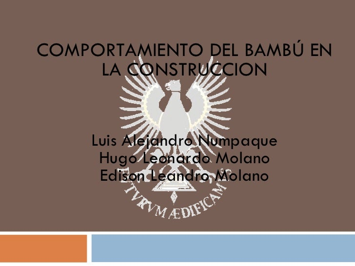 COMPORTAMIENTO DEL BAMBÚ EN LA CONSTRUCCION Luis Alejandro Numpaque Hugo Leonardo Molano Edison Leandro Molano