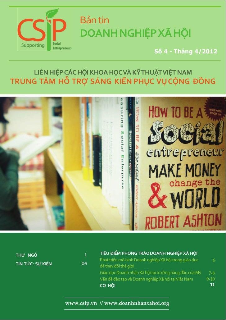 Bản Tin Doanh Nghiệp Xã Hội - Tháng4/2012