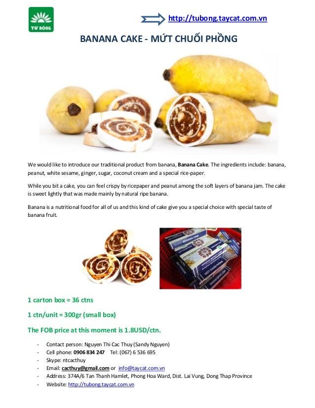 Banana cake for exporting