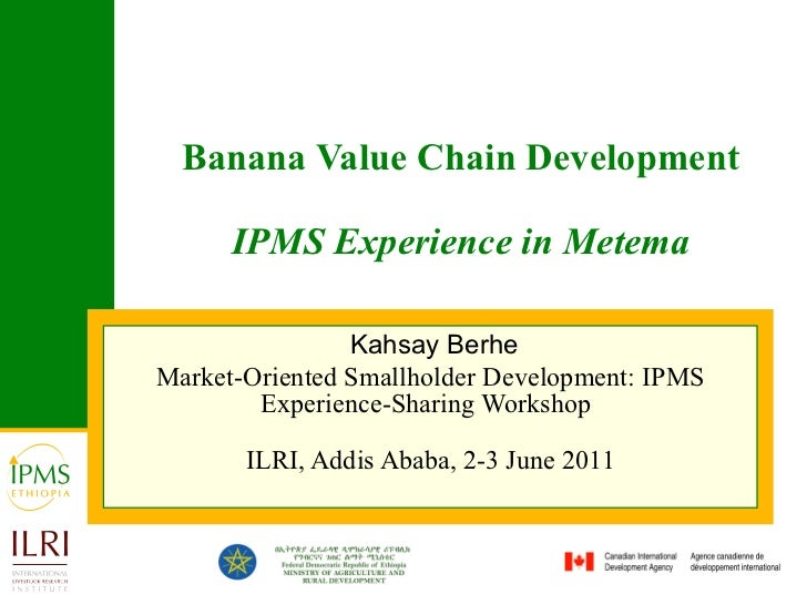 Banana Value Chain Development IPMS Experience in Metema Kahsay Berhe Market-Oriented Smallholder Development: IPMS Experi...