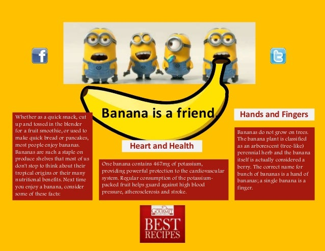 Banana is a friend.Whether as a quick snack, cutup and tossed in the blenderfor a fruit smoothie, or used tomake quick bre...