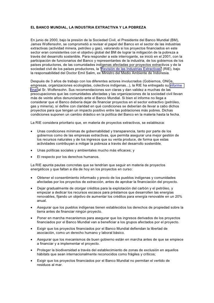 Banco Mundial Industria Extrativa E Poobreza