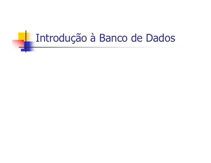 Introdução à Banco de Dados