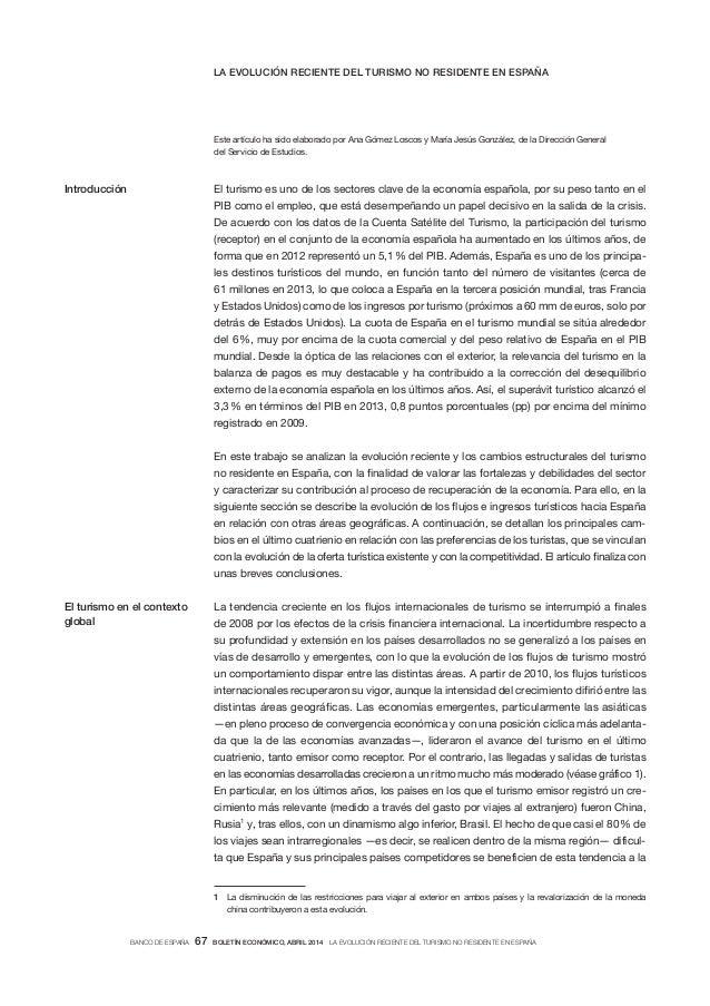 Informe del Banco de España sobre la evolución del turismo no residente
