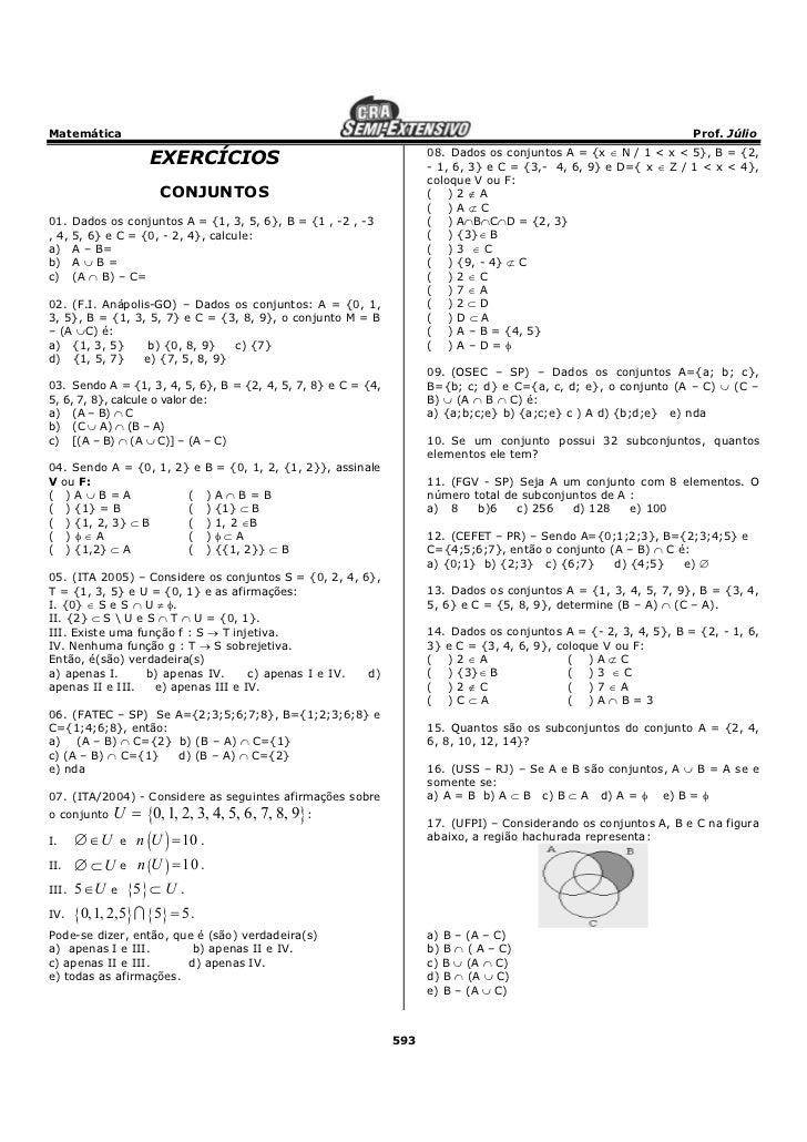 Banco De Exerc  Cios Gerais De Matematica Todo Em