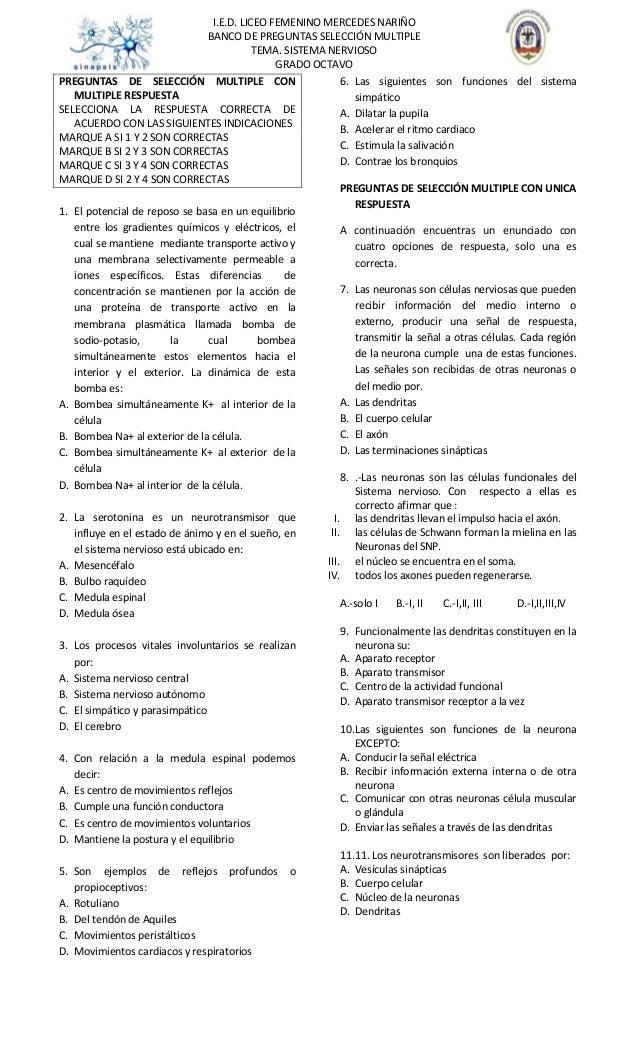 I.E.D. LICEO FEMENINO MERCEDES NARIÑOBANCO DE PREGUNTAS SELECCIÓN MULTIPLETEMA. SISTEMA NERVIOSOGRADO OCTAVOPREGUNTAS DE S...