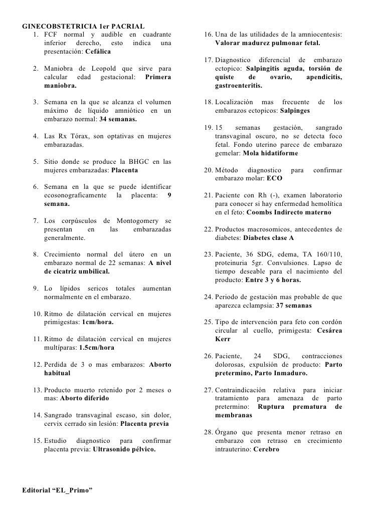 GINECOBSTETRICIA 1er PACRIAL   1. FCF normal y audible en cuadrante              16. Una de las utilidades de la amniocent...