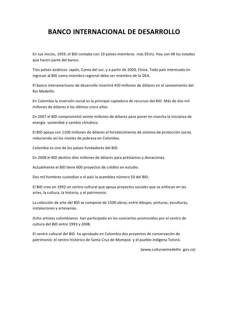 Banco Interamericano De Desarrollo Contabilidad