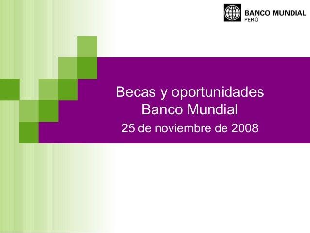 Becas y oportunidadesBanco Mundial25 de noviembre de 2008