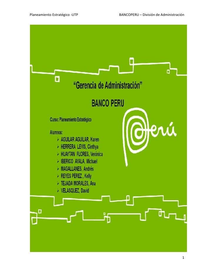 Proyecto de Implementación de Tableros BSC en Unidad de Administración del Banco Perú