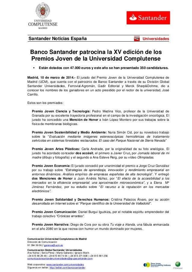 Banco Santander patrocina la XV edición de los Premios Joven de la Universidad Complutense