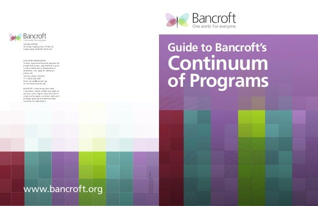 Guide to Bancroft's Continuum of Programs