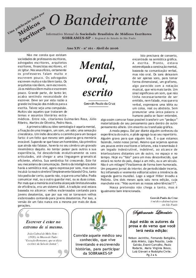 """Mental,oral,escrito""""Informativo Mensal da Sociedade Brasileira de Médicos EscritoresSOBRAMES-SP - Regional do Estado de Sã..."""