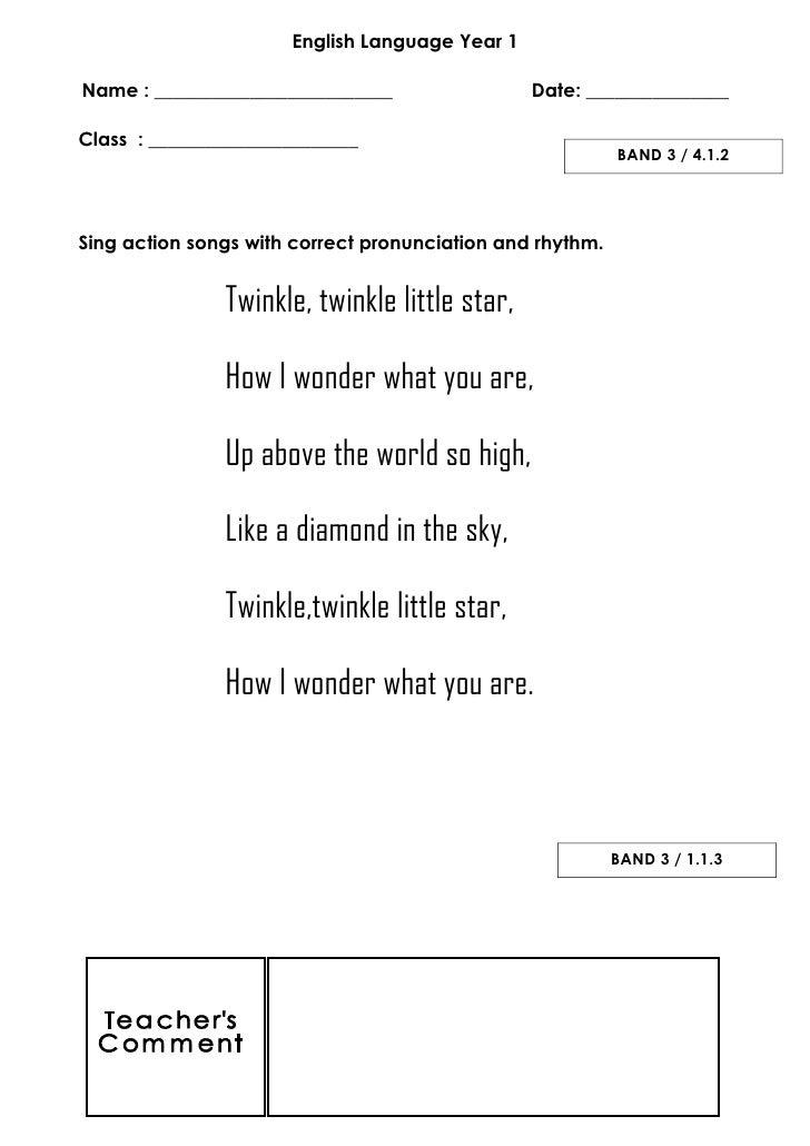 English Year 1 - Band 3 ( language arts )