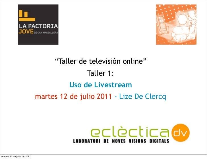 """Taller: """"Televisión online"""" - primera parte"""