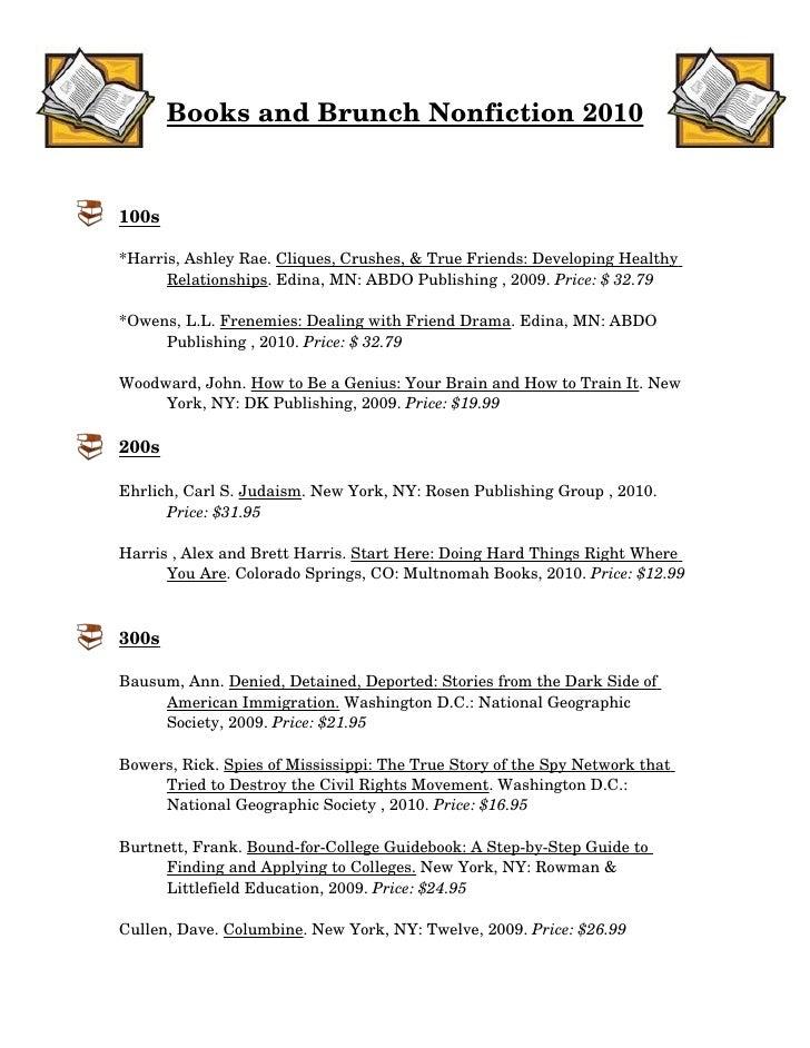 BooksandBrunchNonfiction2010   100s  *Harris,AshleyRae.Cliques,Crushes,&TrueFriends:DevelopingHealthy       ...
