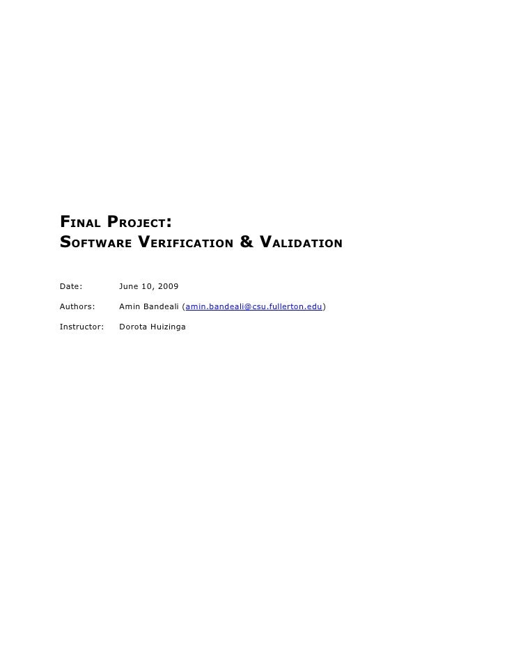 SOFTWARE VERIFICATION & VALIDATION