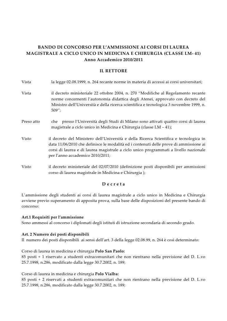BANDO DI CONCORSO PER L'AMMISSIONE A MEDICINA 2010/2011