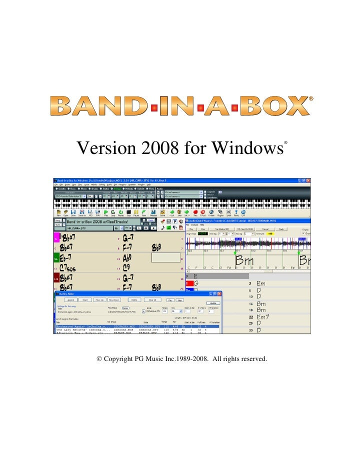 Band In A Box 2008 Upgrade Manual